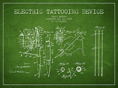 Electric Tattooing Device Patent From 1929 - Green Poster by Aged Pixel