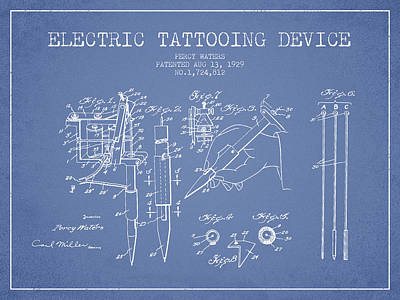 Electric Tattooing Device Patent From 1929 - Light Blue Poster by Aged Pixel