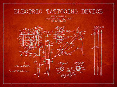 Electric Tattooing Device Patent From 1929 - Red Poster by Aged Pixel