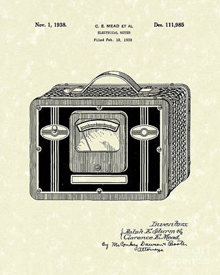 Electrical Meter 1938 Patent Art Poster by Prior Art Design