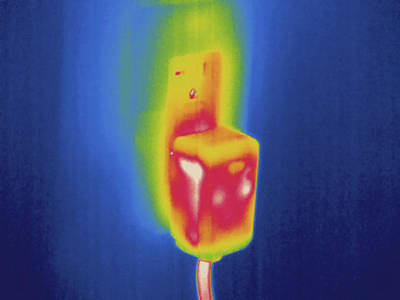Electrical Outlet, Thermogram Poster by Science Stock Photography