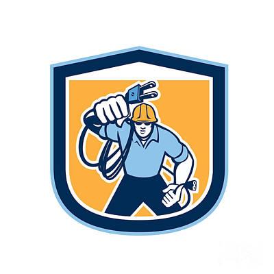 Electrician Carrying Electric Plug Cord Shield Retro Poster by Aloysius Patrimonio