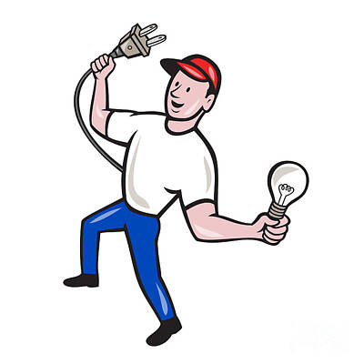 Electrician Hold Electric Plug And Bulb Cartoon Poster by Aloysius Patrimonio