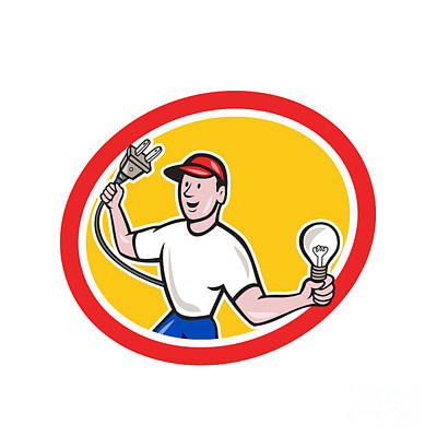 Electrician Holding Electric Plug And Bulb Cartoon Poster by Aloysius Patrimonio