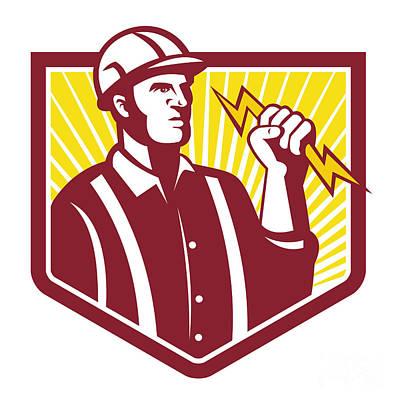 Electrician Holding Lightning Bolt Retro Poster