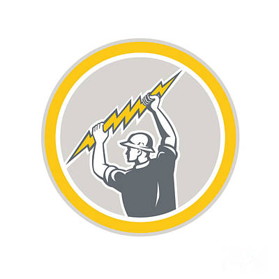 Electrician Holding Lightning Bolt Side Retro Poster