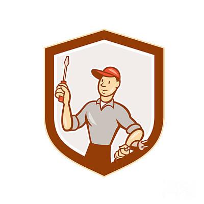 Electrician Screwdriver Plug Shield Cartoon Poster by Aloysius Patrimonio