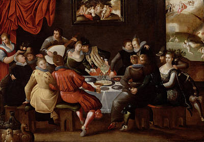 Elegant Figures Feasting And Disporting Poster by Hieronymus II Francken