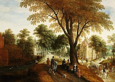 Elegant Horsemen And Figures On A Path In Front Of A Chateau Poster