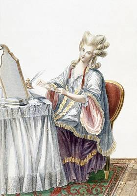 Elegant Lady At Her Dressing Table Poster by Pierre Thomas Le Clerc
