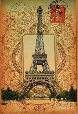 Elegant Vintage Pattern Paris Eiffel Tower Poster
