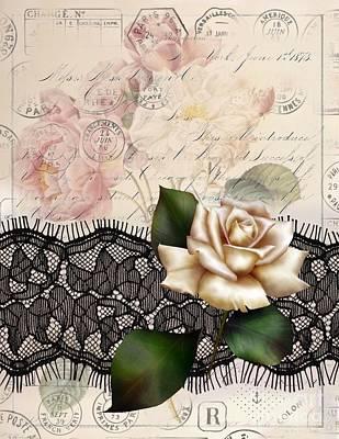 Elegant White Rose Lace Vintage Paris Art Poster