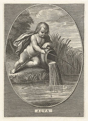 Element Water As A Child With Fishing Rod Leaning On Jar Poster by Cornelis Van Dalen Ii And Abraham Van Diepenbeeck And Nicolaes Visscher I