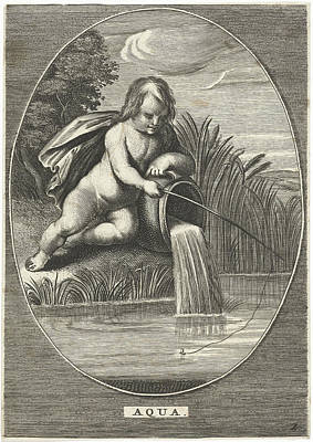 Element Water As A Child With Fishing Rod Leaning On Jar Poster by Cornelis Van Dalen (ii) And Anonymous And Abraham Van Diepenbeeck