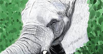 Poster featuring the painting Elephant 1 by Jeanne Fischer