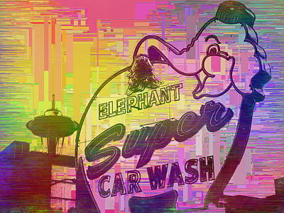 Elephant Car Wash Cubed Poster by Tim Allen