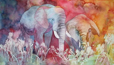 Elephant Duo Poster by Nancy Jolley