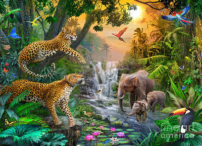 Elephant Falls Poster by Jan Patrik Krasny