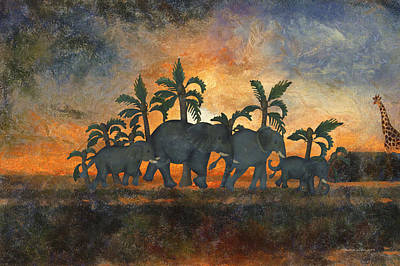 Elephant Family At Sundown Textured Poster by Thomas Woolworth