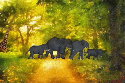 Elephant Family Jungle Walk Textured Poster