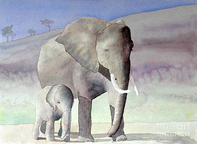Elephant Family Poster by Laurel Best