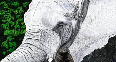 Poster featuring the painting Elephant II by Jeanne Fischer