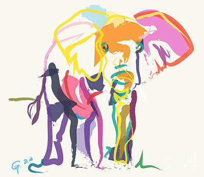Elephant In Color Ecru Poster by Go Van Kampen
