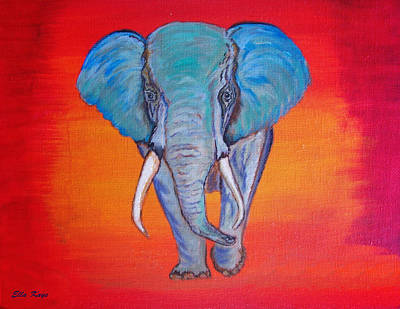 Poster featuring the painting Elephant Matriarch by Ella Kaye Dickey