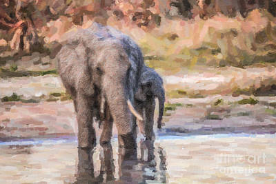 Elephant Mother And Calf Poster by Liz Leyden