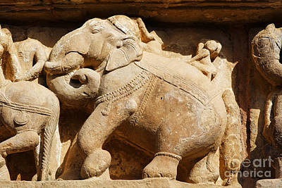 Elephant Sculpture At Khajuraho Poster