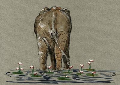 Elephant With Water Lilies Poster by Juan  Bosco