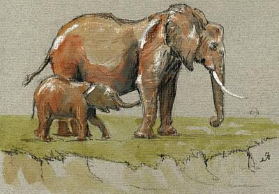 Elephants Poster by Juan  Bosco