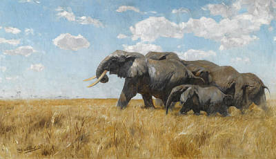 Elephants On The Move Poster