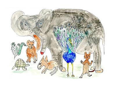 Poster featuring the painting Elephoot And Friends by Helen Holden-Gladsky