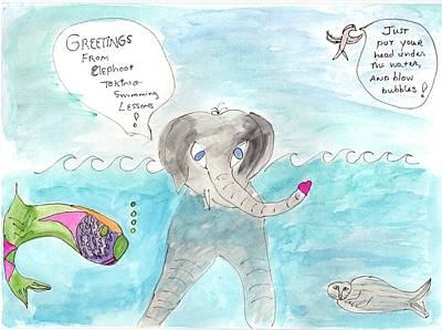 Poster featuring the painting Elephoot Swim Lesson by Helen Holden-Gladsky