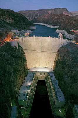 Elevated View At Dusk Of Hoover Dam Poster