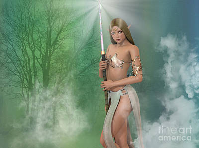 Elf Sorceress With Staff Poster