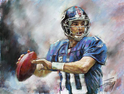 Poster featuring the drawing Eli Manning Nfl Ny Giants  by Viola El