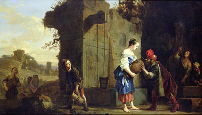 Eliezer And Rebecca At The Well, 1660 Oil On Canvas Poster by Salomon de Bray