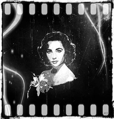 Elizabeth Taylor - Black And White Film Poster by Absinthe Art By Michelle LeAnn Scott