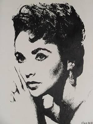 Poster featuring the painting Elizabeth Taylor  by Cherise Foster