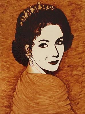 Elizabeth Taylor Original Coffee Painting On Paper Poster by Georgeta  Blanaru