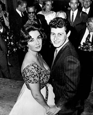 Elizabeth Taylor With Husband In Front Of Others Poster by Retro Images Archive