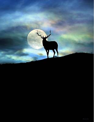 Elk And Moon Poster