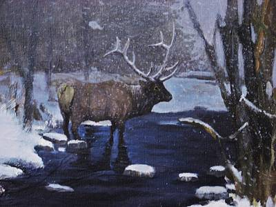 Poster featuring the painting Elk In The Wilderness by Noe Peralez