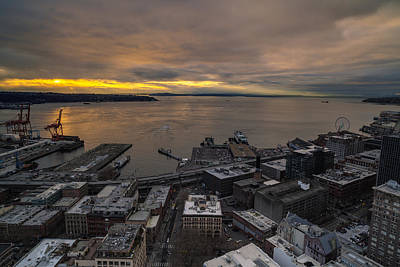 Elliott Bay Seattle Evening Poster