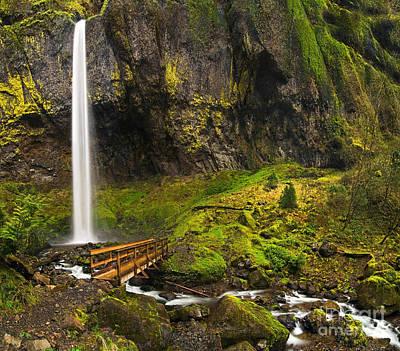 Elowah Falls Panorama -  Columbia River Gorge In Oregon Poster