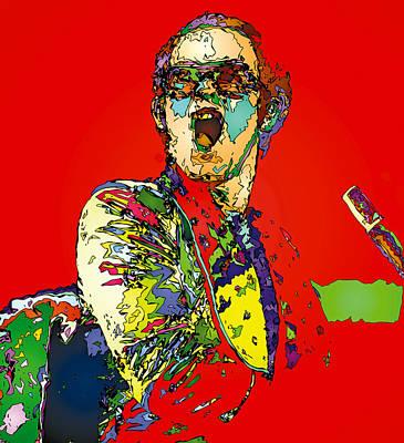 Elton In Red Poster by John Farr