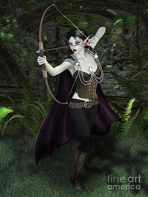 Elven Archer Female Poster by Elle Arden Walby