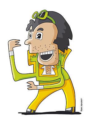Elvis Double Singer Doodle Character Poster by Frank Ramspott